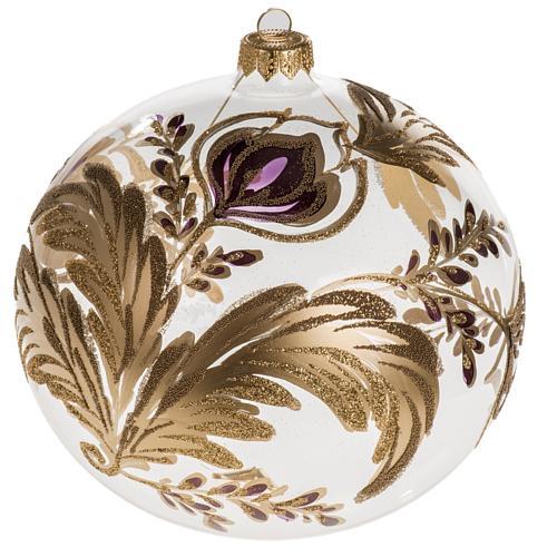 Palla Natale vetro soffiato trasparente fiore fucsia oro 15 cm 1