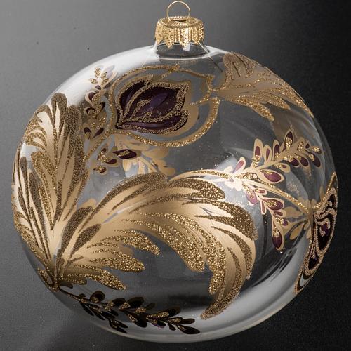 Palla Natale vetro soffiato trasparente fiore fucsia oro 15 cm 2