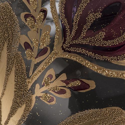 Palla Natale vetro soffiato trasparente fiore fucsia oro 15 cm 3