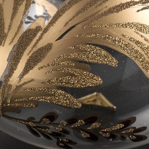 Palla Natale vetro soffiato trasparente fiore fucsia oro 15 cm 4