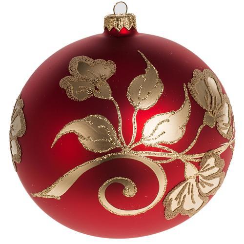 b8c64e6a2c4 Bola de navidad vidrio soplado roja decoraciones doradas 15 cm ...
