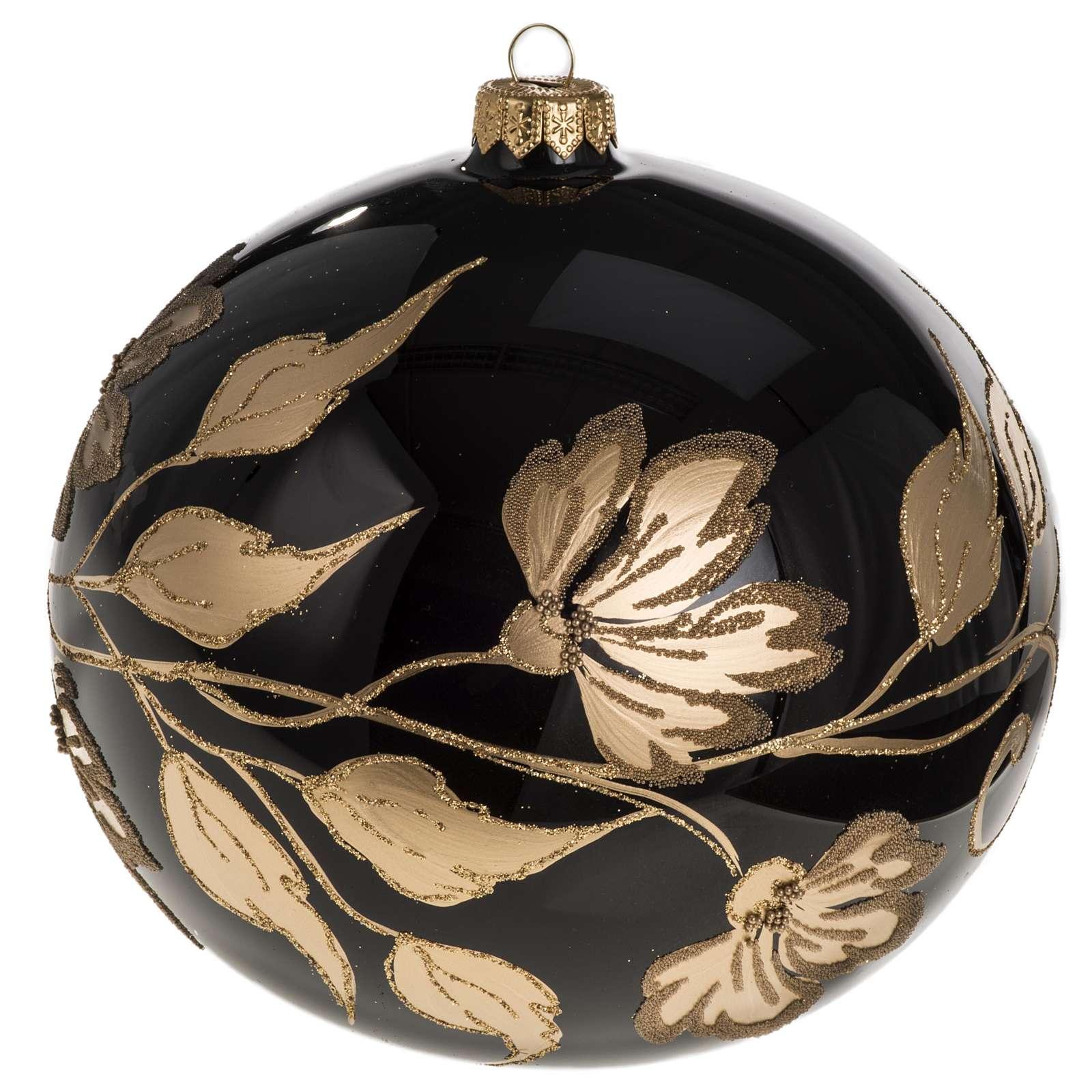Palla Natale vetro soffiato nero fiori oro 15 cm 4