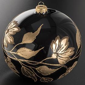 Palla Natale vetro soffiato nero fiori oro 15 cm s2