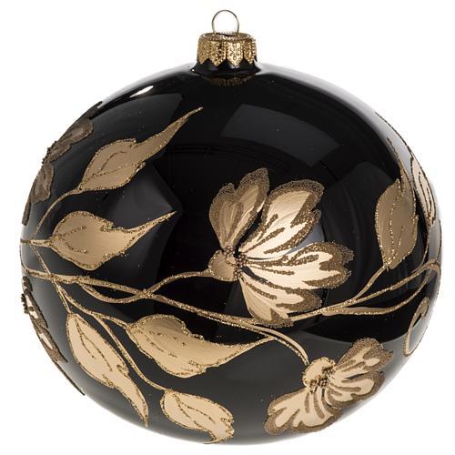 Palla Natale vetro soffiato nero fiori oro 15 cm 1