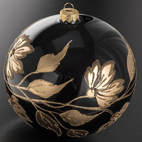 Palla Natale vetro soffiato nero fiori oro 15 cm 2