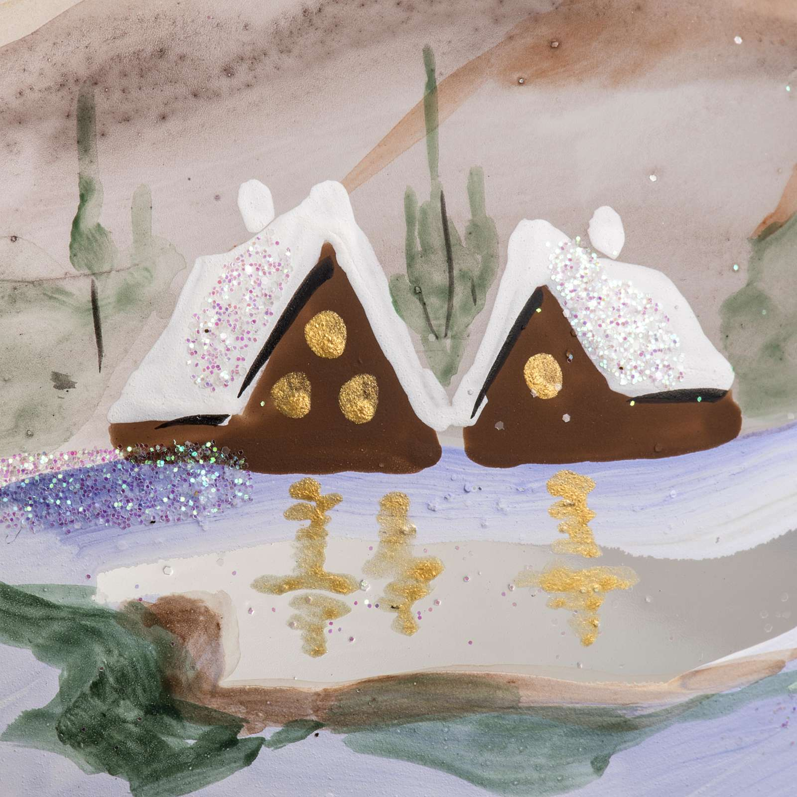 Palla Natale vetro soffiato paesaggio innevato 15 cm 4