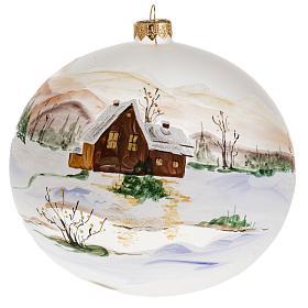 Palla Natale vetro soffiato paesaggio innevato 15 cm s1