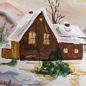 Palla Natale vetro soffiato paesaggio innevato 15 cm s3