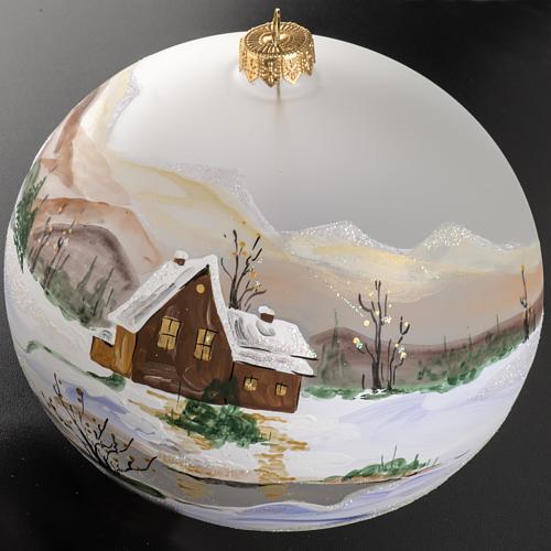 Palla Natale vetro soffiato paesaggio innevato 15 cm 2