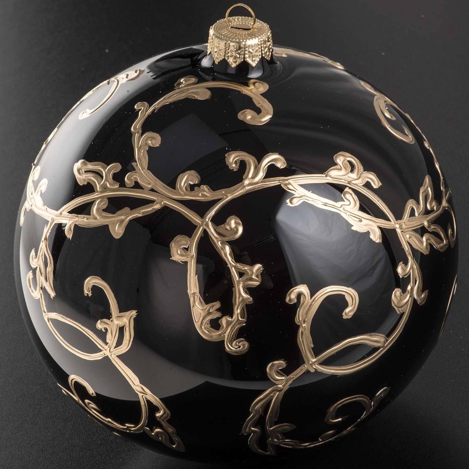 Boule de Noel verre soufflé noire décors dorés 15 cm 4