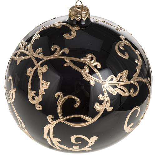 Boule de Noel verre soufflé noire décors dorés 15 cm 1