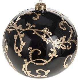 Christmas bauble, black blown glass and gold decorations 15cm s1