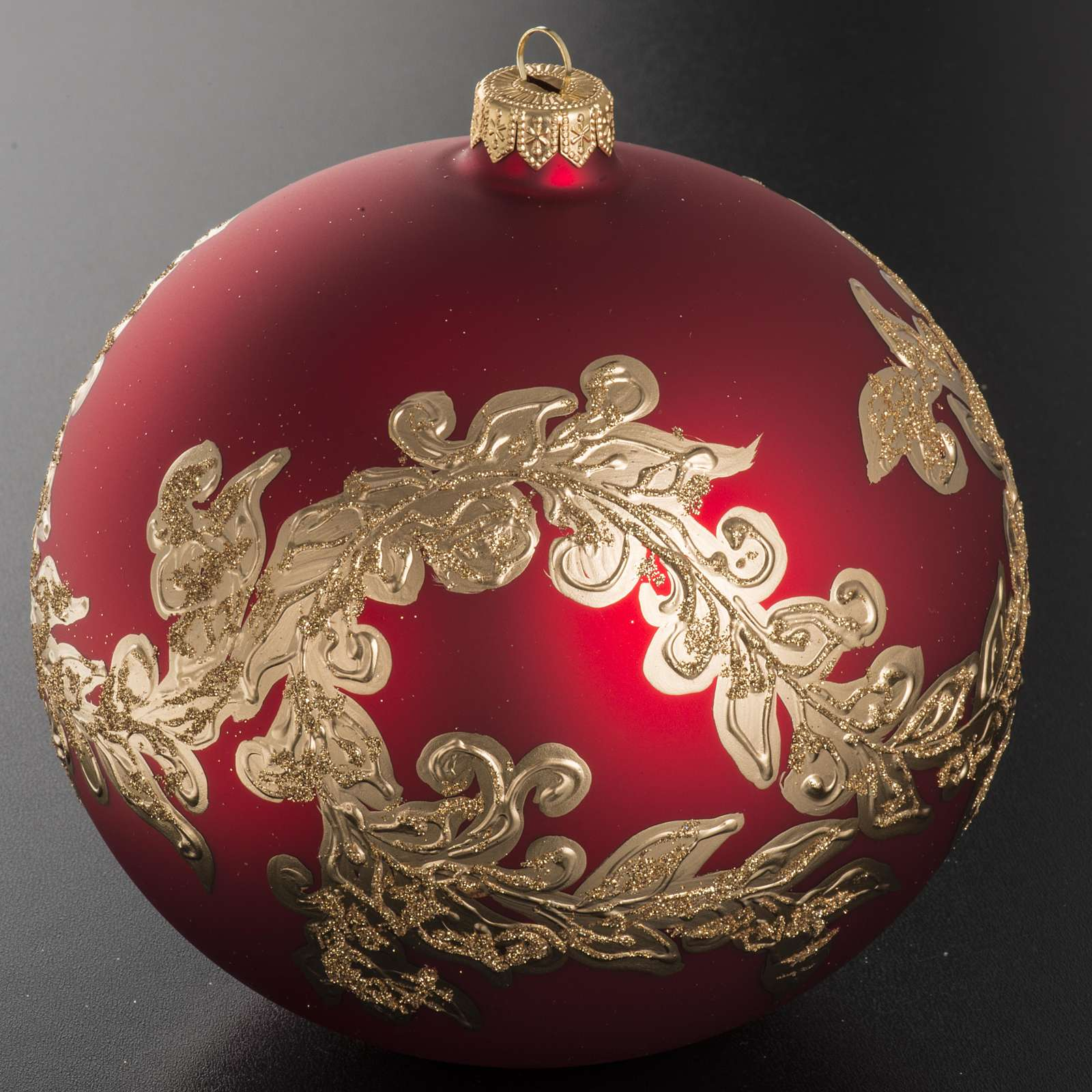 Palla Natale vetro soffiato rosso decorazioni dorate 15 cm 4