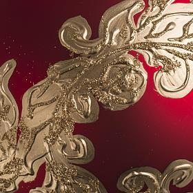 Palla Natale vetro soffiato rosso decorazioni dorate 15 cm s3