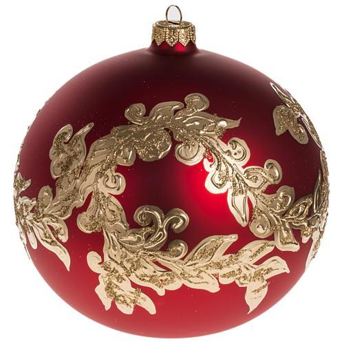 Palla Natale vetro soffiato rosso decorazioni dorate 15 cm 1