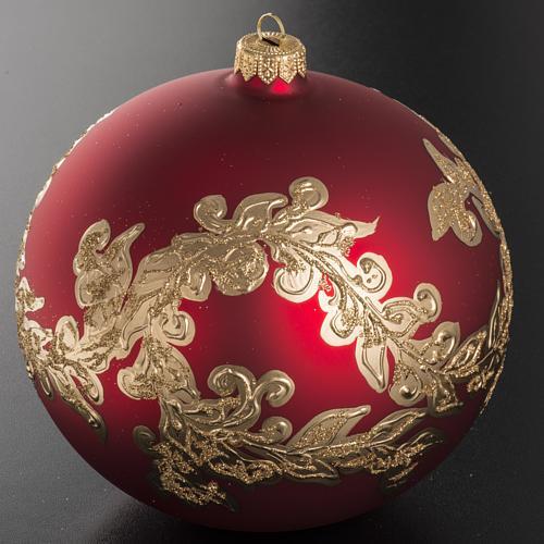 Palla Natale vetro soffiato rosso decorazioni dorate 15 cm 2