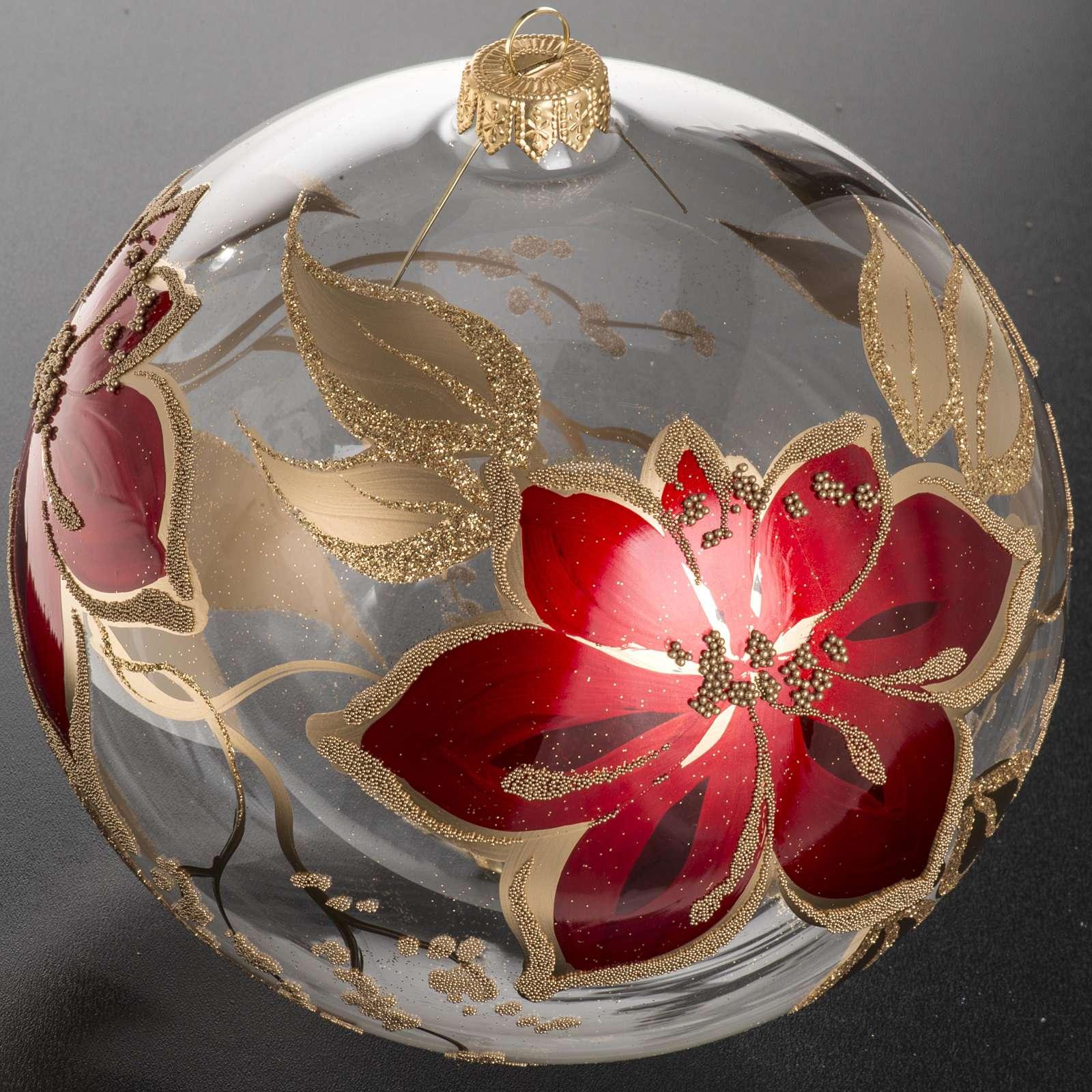 Bola de navidad vidrio soplado transparente flores rojas doradas 4