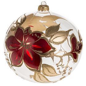 Bola de navidad vidrio soplado transparente flores rojas doradas s1