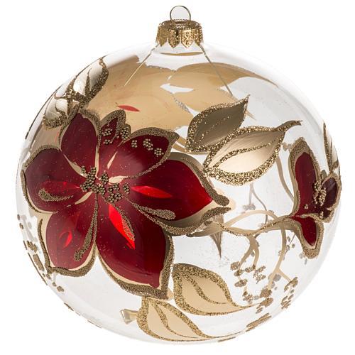 Bola de navidad vidrio soplado transparente flores rojas doradas 1