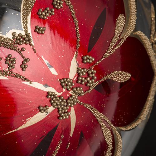 Bola de navidad vidrio soplado transparente flores rojas doradas 3