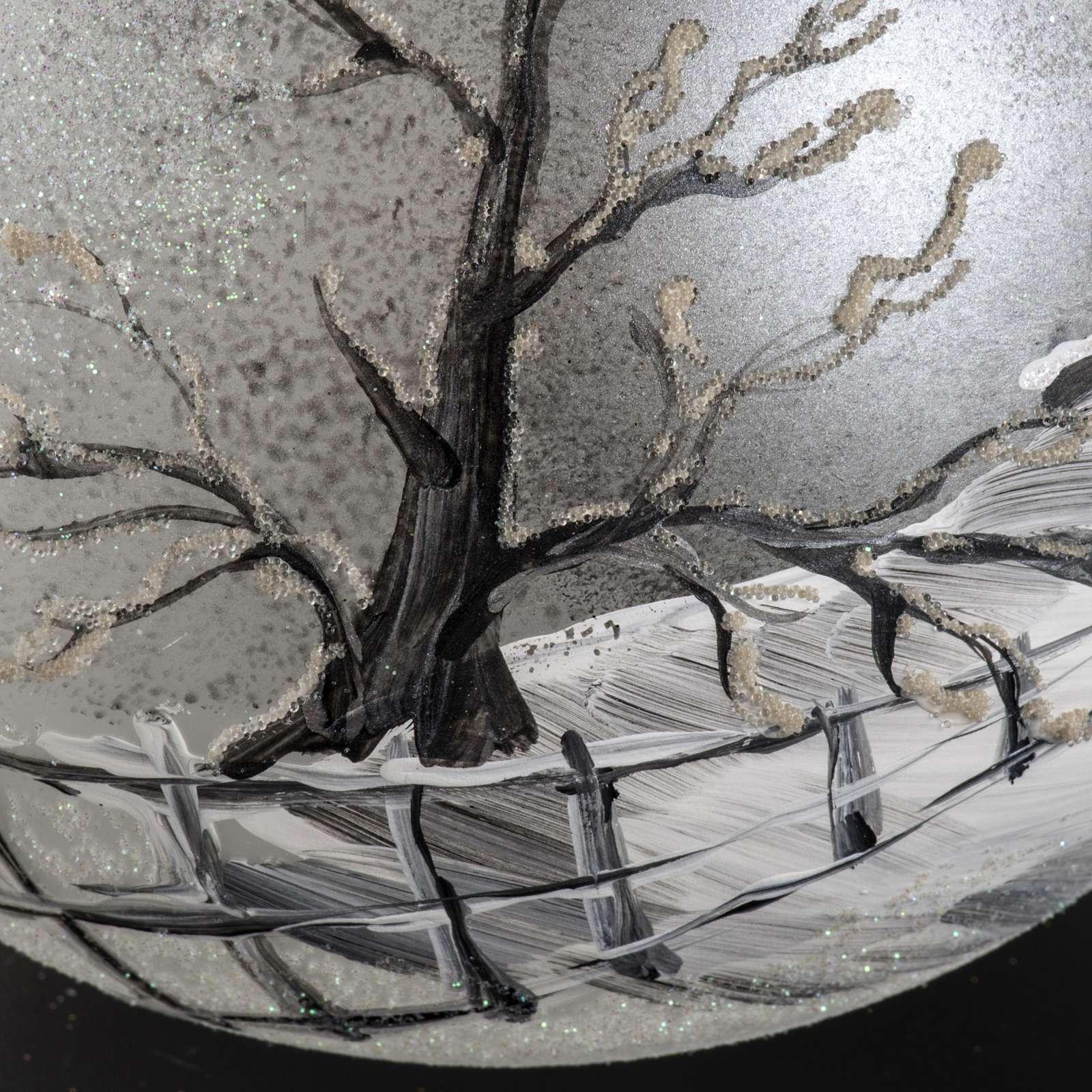 Palla Natale vetro soffiato paesaggio dipinto a mano 15 cm 4