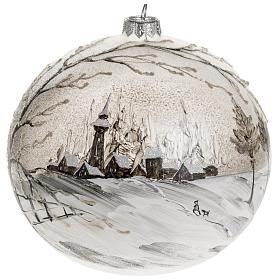Palla Natale vetro soffiato paesaggio dipinto a mano 15 cm s1