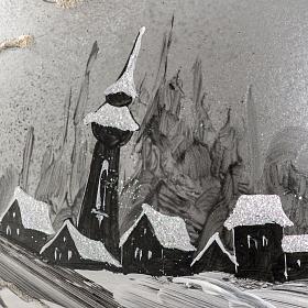 Palla Natale vetro soffiato paesaggio dipinto a mano 15 cm s3