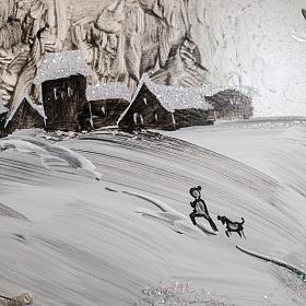 Palla Natale vetro soffiato paesaggio dipinto a mano 15 cm s5