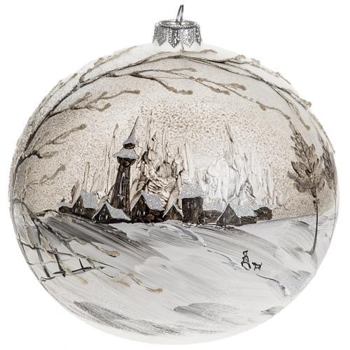 Palla Natale vetro soffiato paesaggio dipinto a mano 15 cm 1