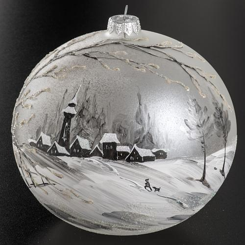 Palla Natale vetro soffiato paesaggio dipinto a mano 15 cm 2