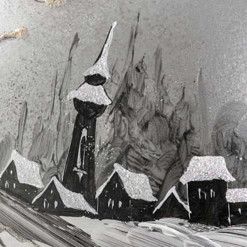 Palla Natale vetro soffiato paesaggio dipinto a mano 15 cm 3
