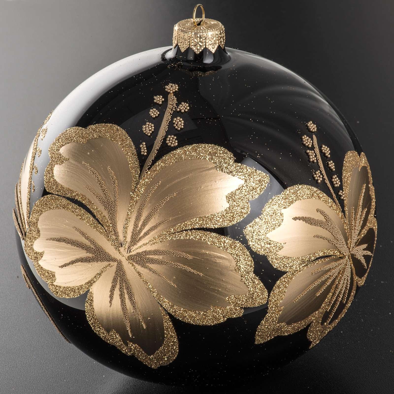 Palla Natale vetro soffiato nero fiore dorato 15 cm 4