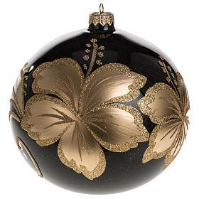 Palla Natale vetro soffiato nero fiore dorato 15 cm s1