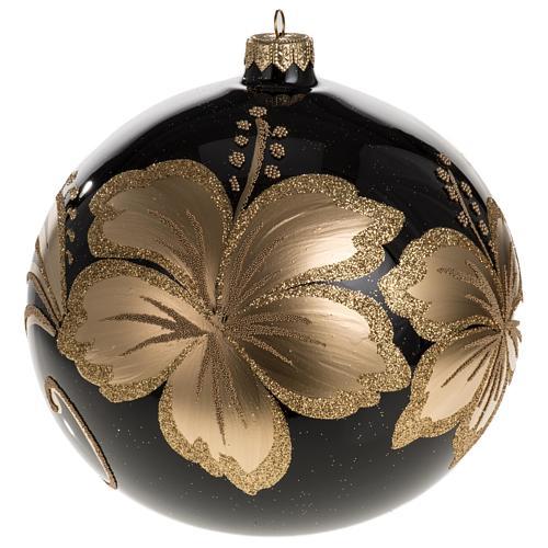 Palla Natale vetro soffiato nero fiore dorato 15 cm 1