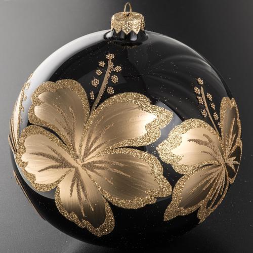 Palla Natale vetro soffiato nero fiore dorato 15 cm 2