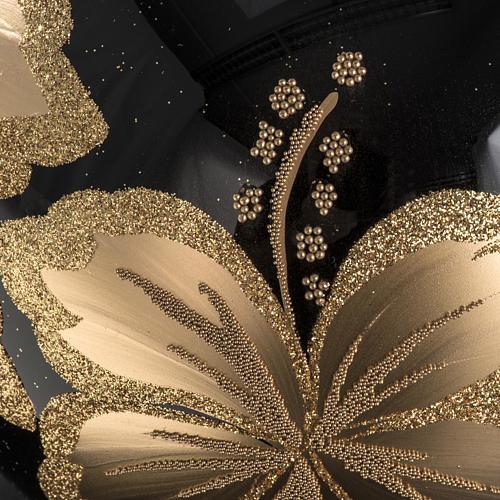 Palla Natale vetro soffiato nero fiore dorato 15 cm 3