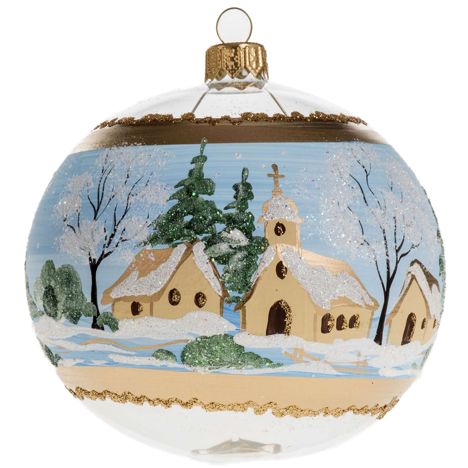 Christmas bauble, blown glass with painted snowy town 10cm 4