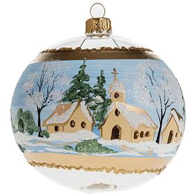 Christmas bauble, blown glass with painted snowy town 10cm s1
