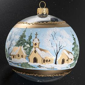 Christmas bauble, blown glass with painted snowy town 10cm s3