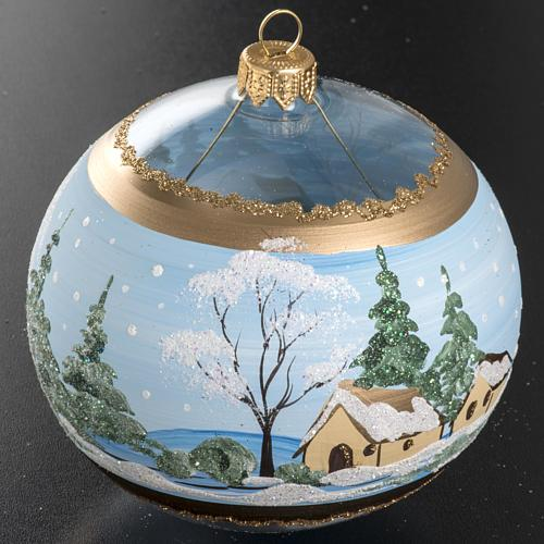 Christmas bauble, blown glass with painted snowy town 10cm 2