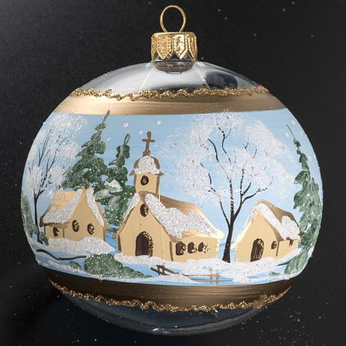 Christmas bauble, blown glass with painted snowy town 10cm 3