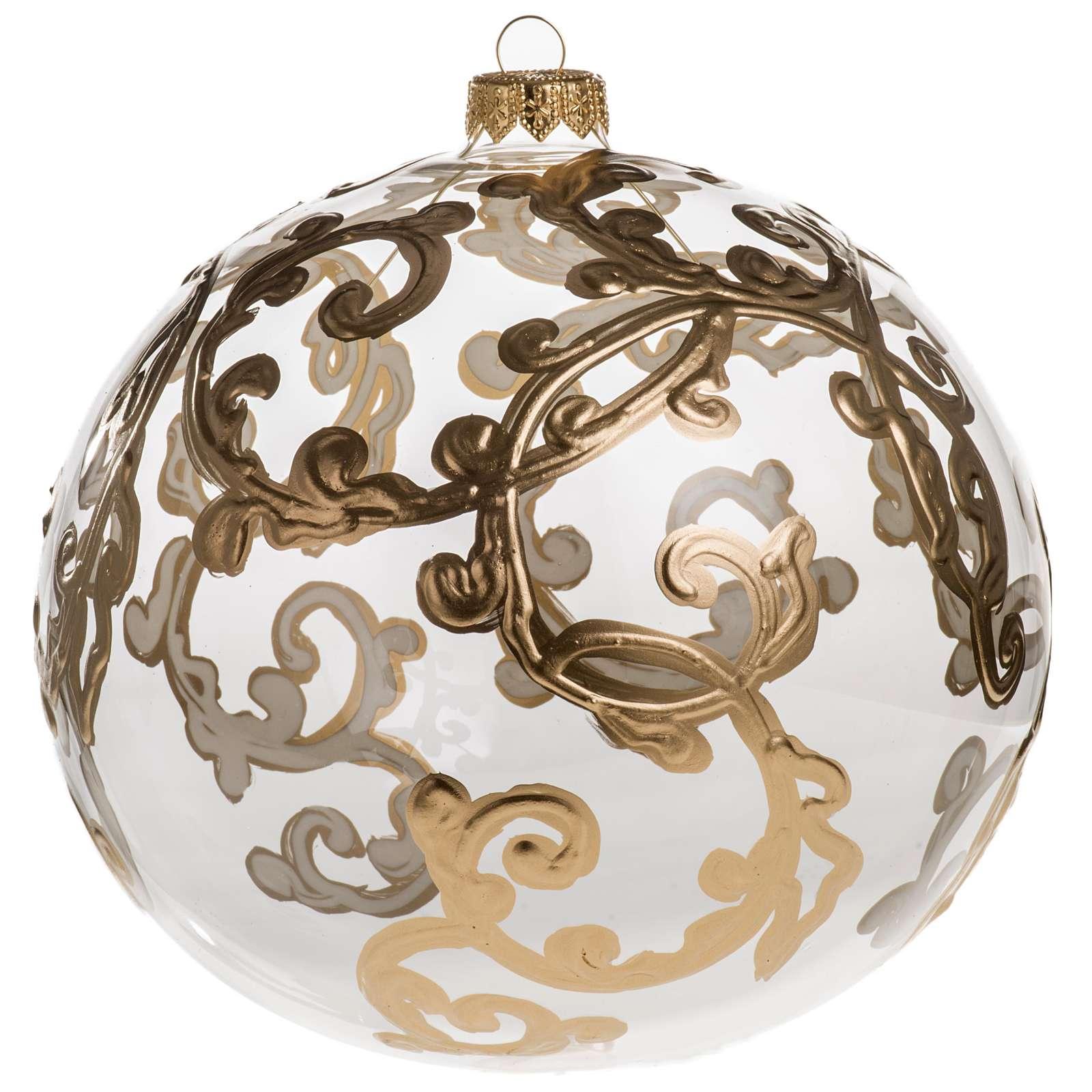 Palla Natale vetro soffiato trasparente con decori 15 cm 4