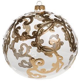 Palla Natale vetro soffiato trasparente con decori 15 cm s1