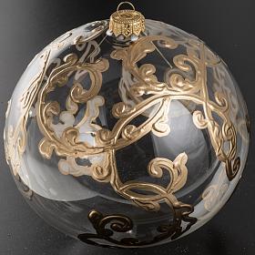 Palla Natale vetro soffiato trasparente con decori 15 cm s2