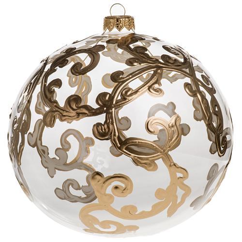 Palla Natale vetro soffiato trasparente con decori 15 cm 1