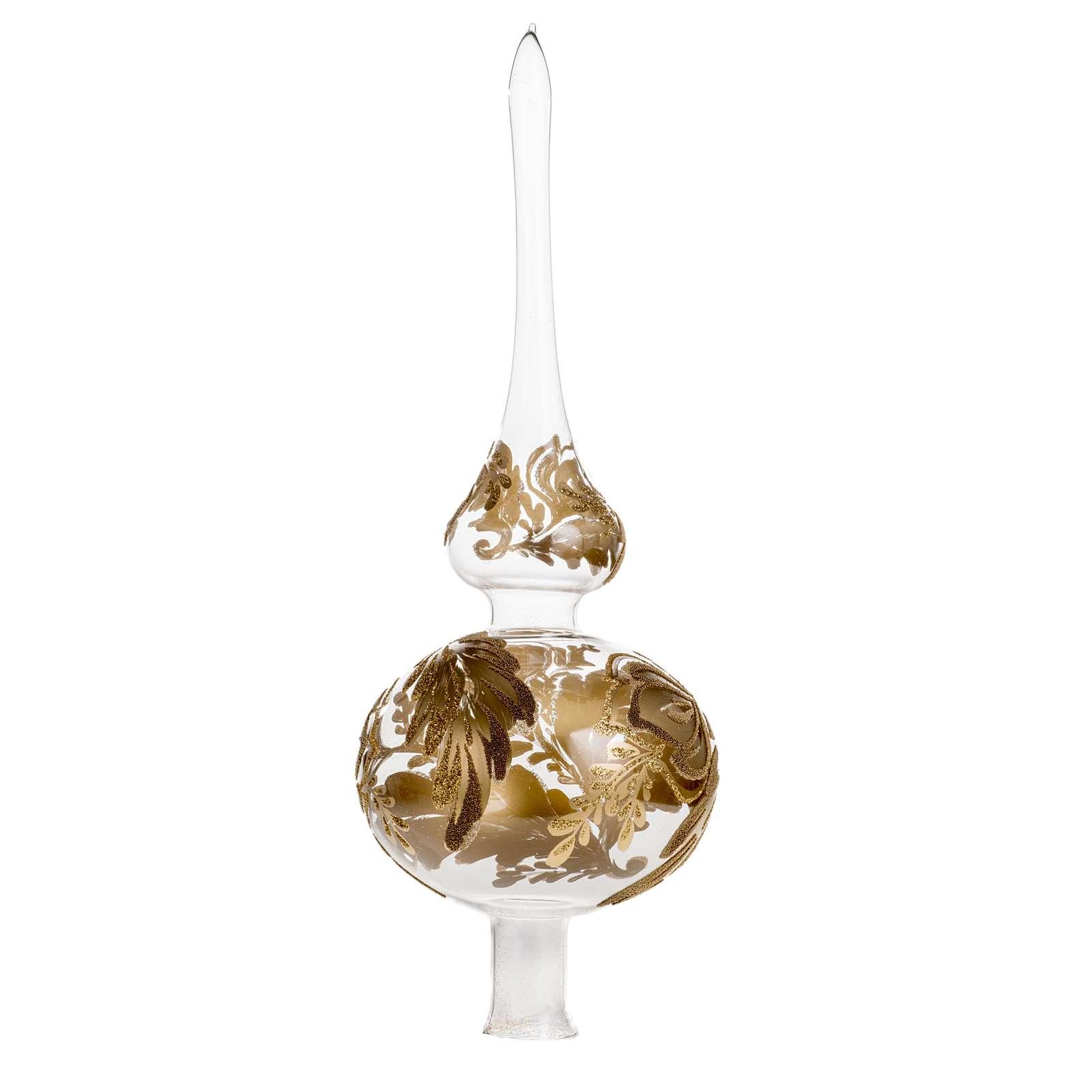 Adorno navidad forma punta, vidrio transparente pintado a mano 4