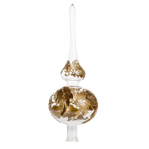 Adorno navidad forma punta, vidrio transparente pintado a mano 1