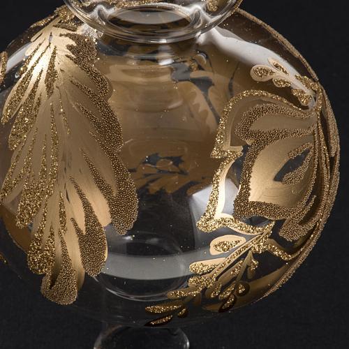 Puntale albero Natale vetro trasparente dipinto a mano 3