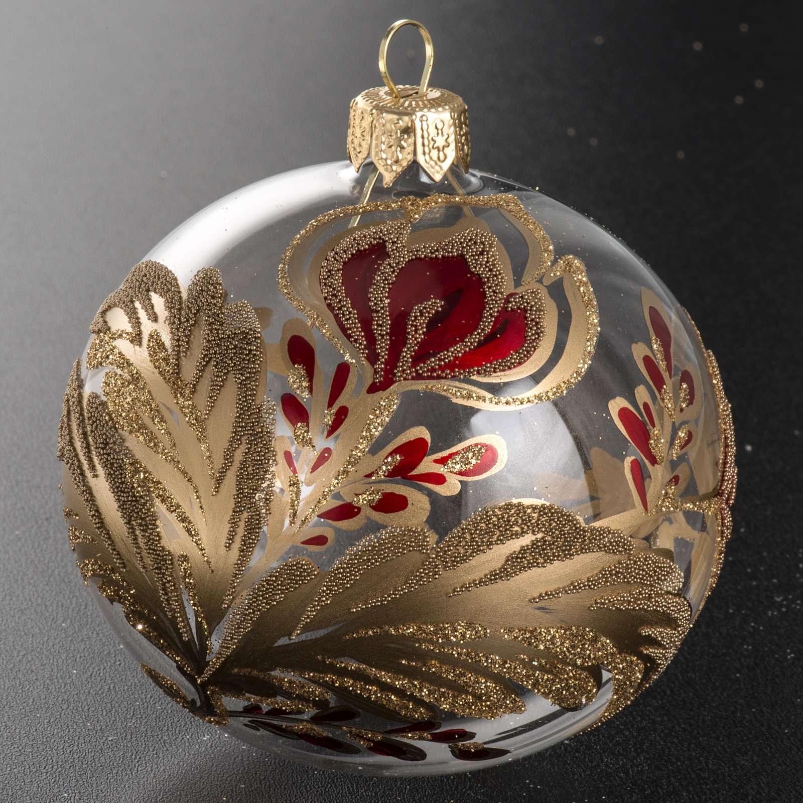 Boule de Noel verre soufflé fleur rouge or 8cm 4