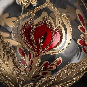 Boule de Noel verre soufflé fleur rouge or 8cm s3